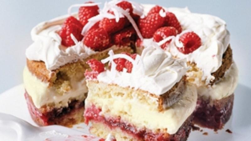 Desert: Trifle cu zmeura si cocos