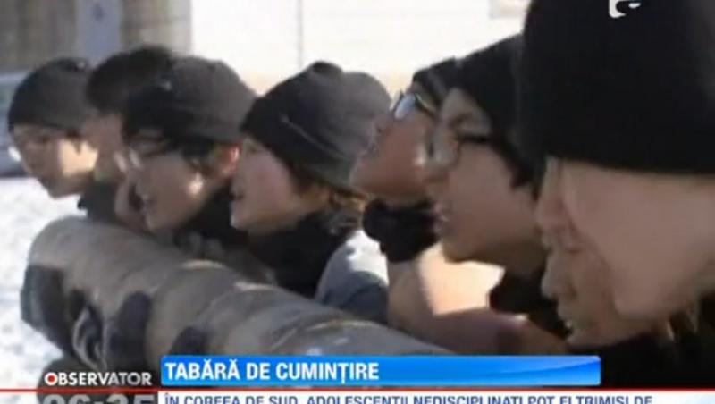 O tabara din Coreea de Sud disciplineaza adolescentii ca in armata