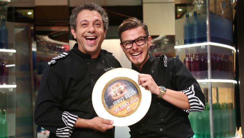 Sorin Bontea și Ionuț Belei, cu trofeul Chefi la cuțite, sezonul 8