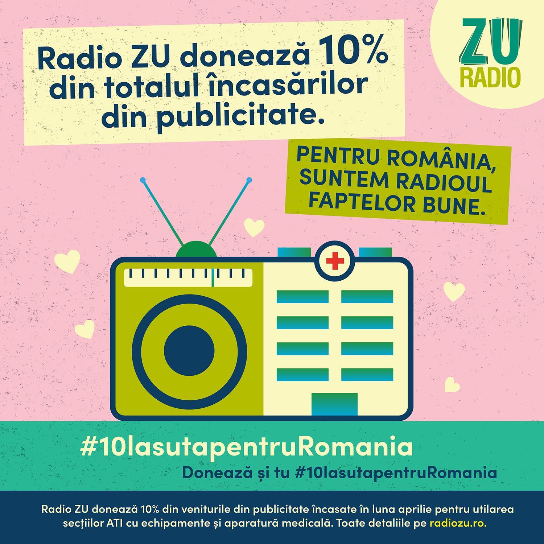 Radio ZU donează 10% din totalul încasărilor din publicitate! Când România e în stare de urgență, Radioul Faptelor Bune e în stare de bine