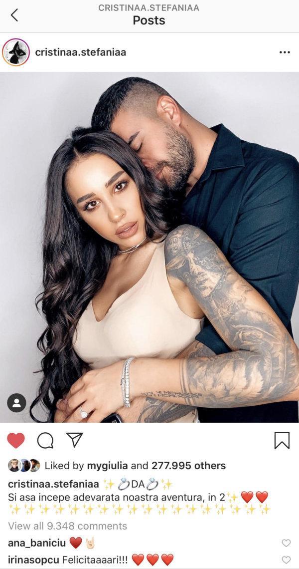 Ultima poza a Stefaniei este postarea cu cel mai mare numar de like-uri din istoria Instagram in Romania, respectiv peste 277.000, si un reach de circa 1.000.000 de persoane