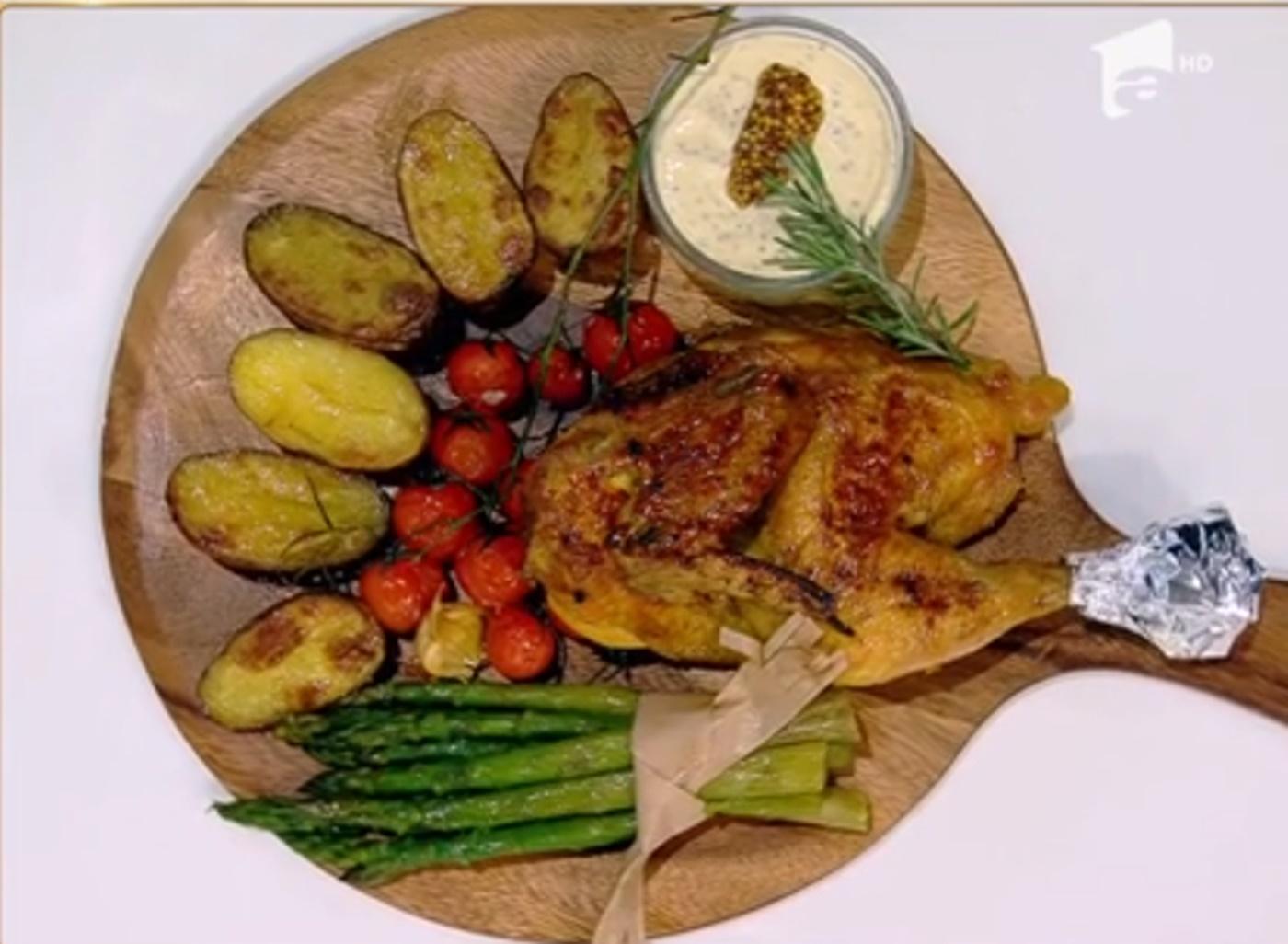 Friptura de pui cu cartofi la cuptor și sos delicios de muștar
