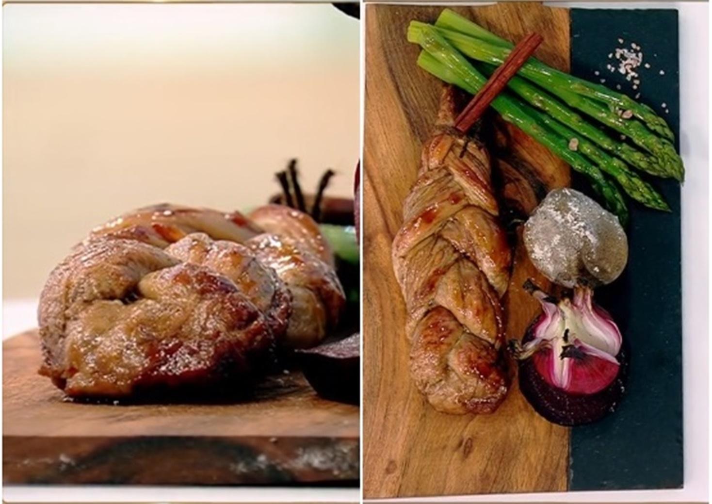 Mușchiuleț de porc împletit, servit cu legume coapte și reducție din trei tipuri de vin