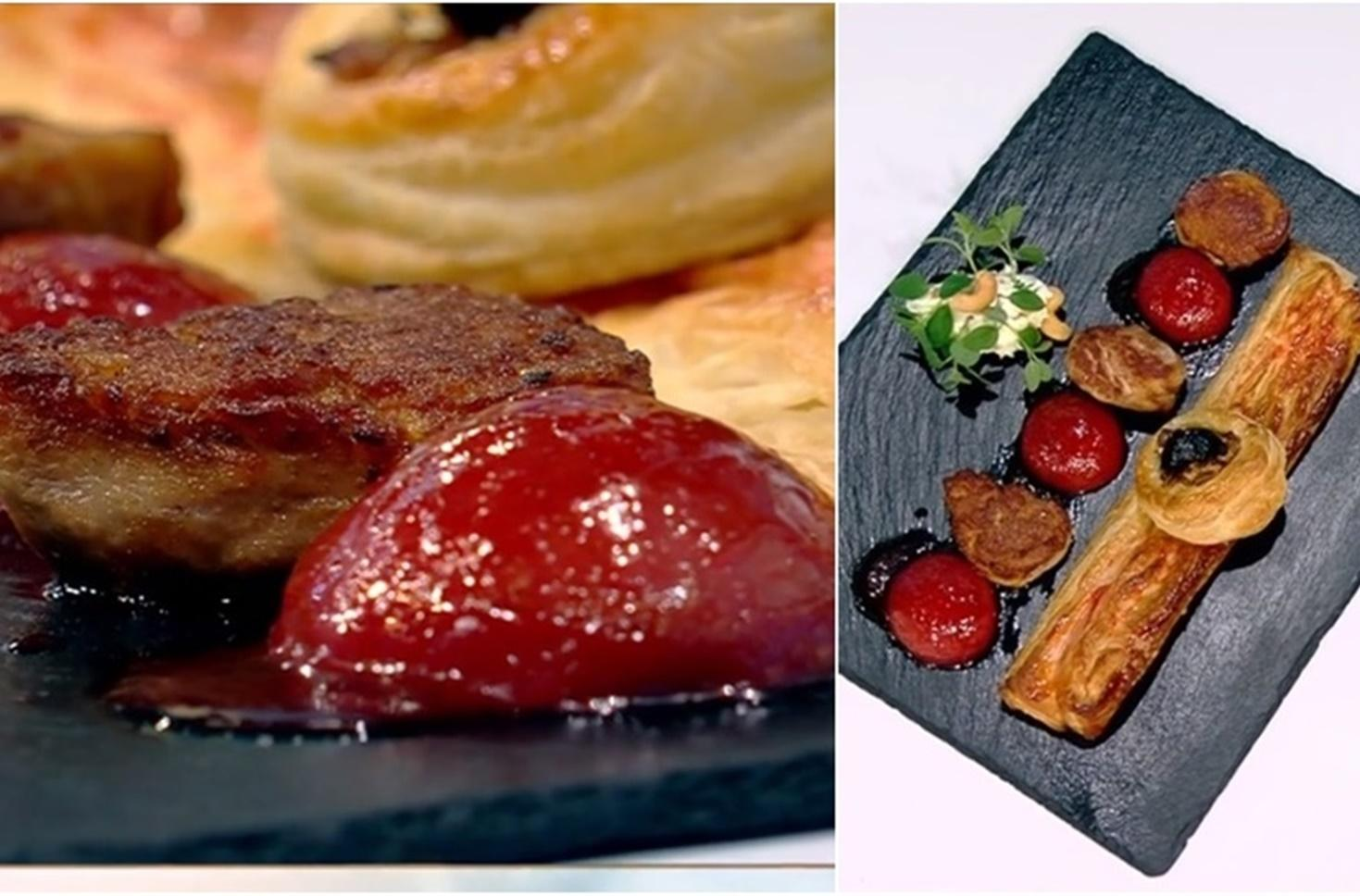 Mușchiuleț de porc cu sos delicios de prune și foietaj crocant cu bacon