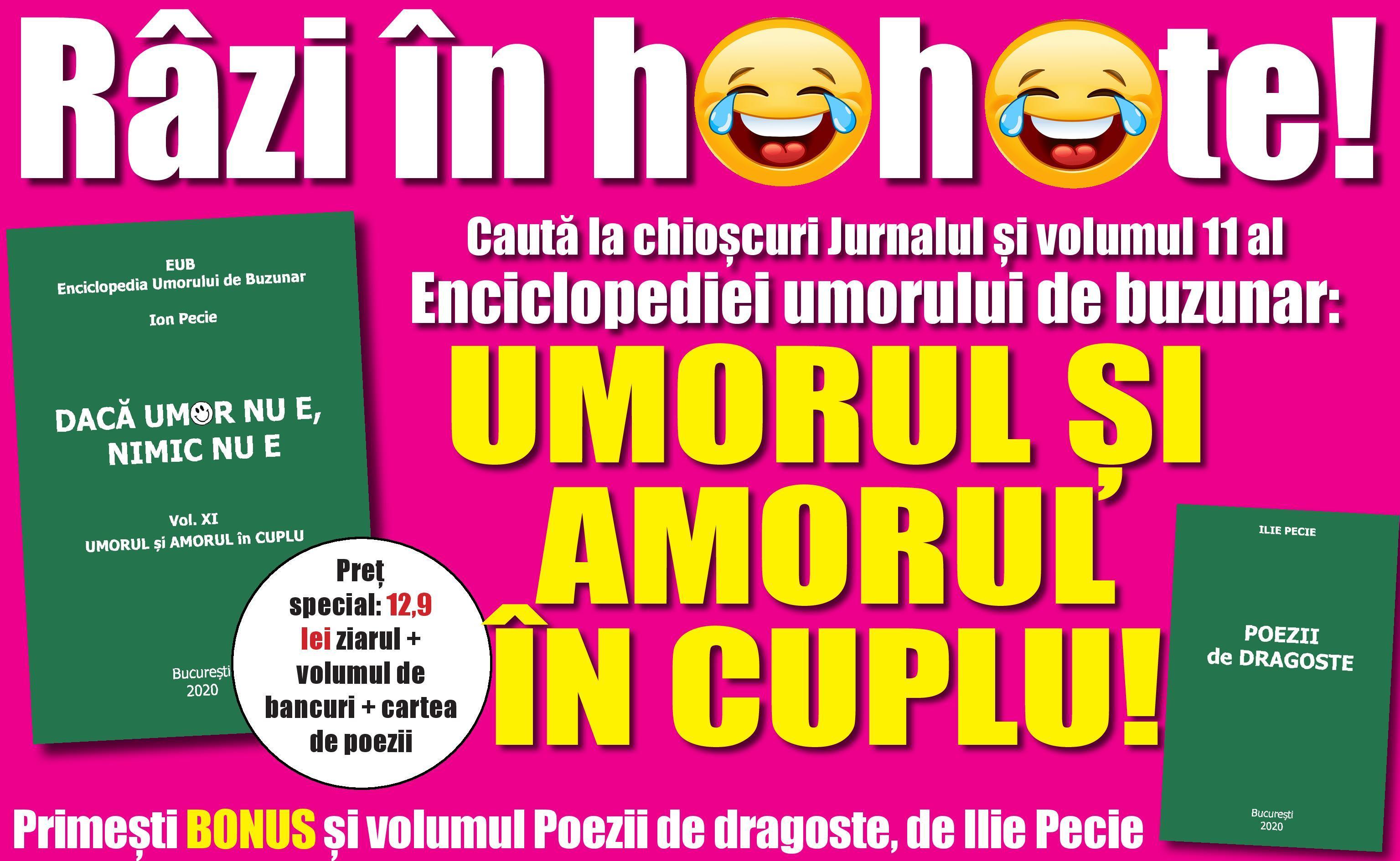 Râzi în hohote! Jurnalul îți oferă azi volumul 11 al Enciclopediei umorului de buzunar: UMORUL ȘI AMORUL ÎN CUPLU