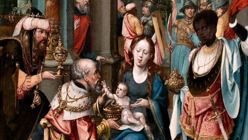 tablou din timpul scolii belgiene cu fecioara si magii