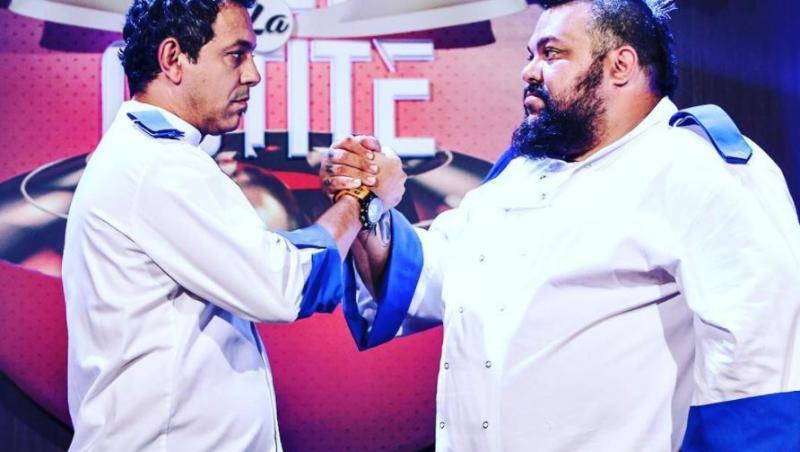 Mihai Munteanu si Sorin Bontea pe platourile de filmare Chefi la Cutite, bat mana si se privesc