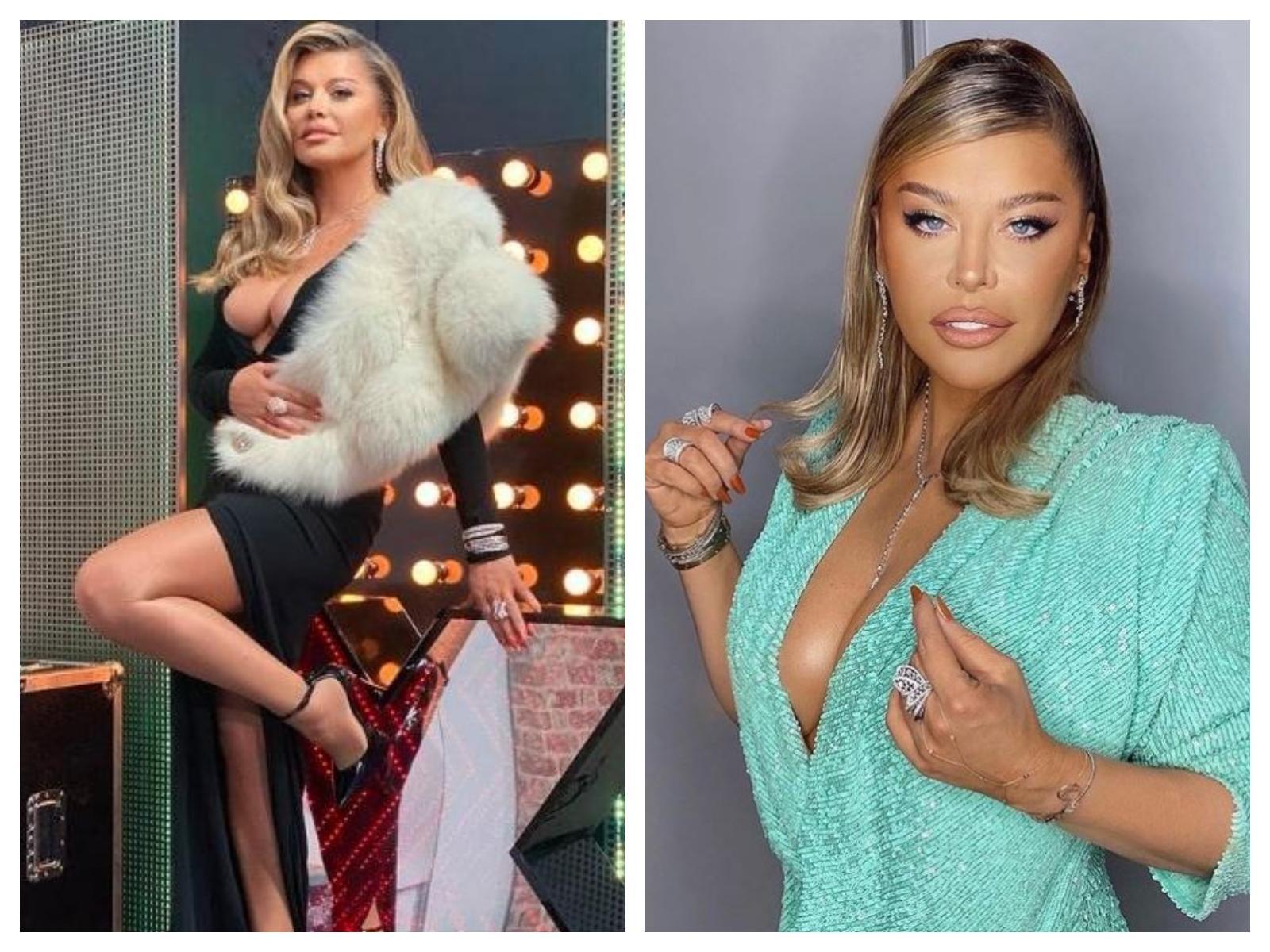 Colaj cu Loredana Groza de la X Factor 2020. Diva a purtat o rochie neagră, lungă, decoltată și una turcoise, cu mâneci trei sferturi