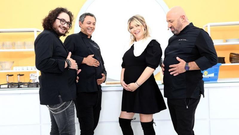 Gina Pistol, alături de chefii Dumitrescu Bontea și Scărlătescu, toți îmbrăcați în ținute negre