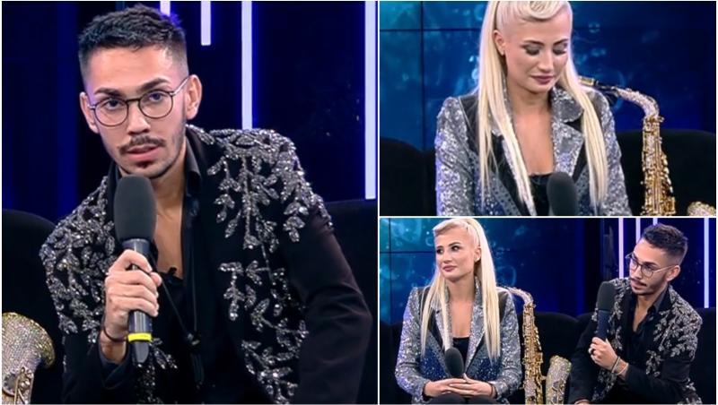 colaj de fotografii cu armin nicoara și claudia puican în platoul de televiziune, imbracati elegant in negru
