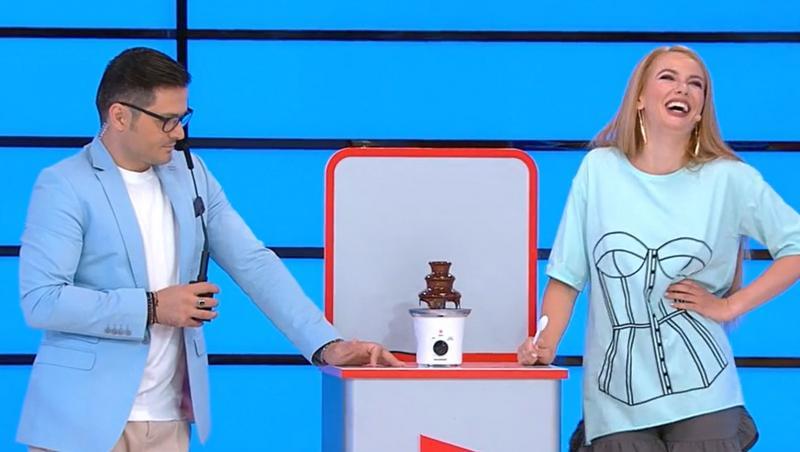 Andrei Ștefănescu și Liviu Vârciu, replici amuzante la Prețul cel bun, 5 octimbrie. Au râs pe seama unei fântâni de ciocolată