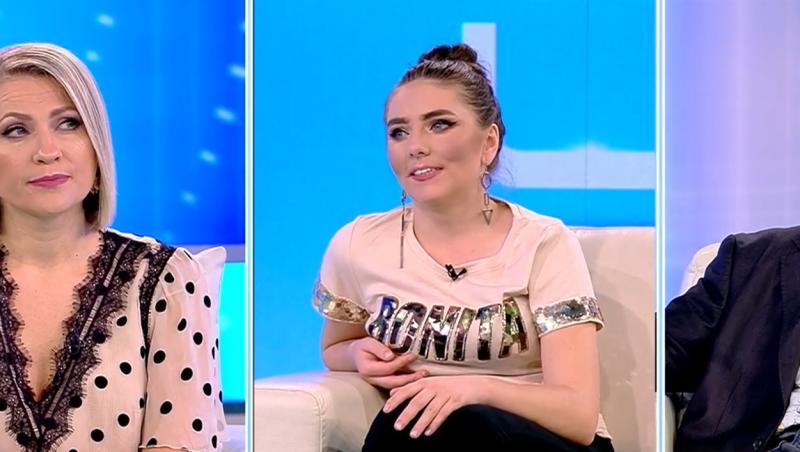 """Vulpița Veronica din Blăgești la emisiunea """"Acces Direct"""", alături de Mirela Vaida și Viorel Stegaru (colaj foto)"""