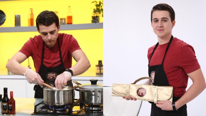 Paul Vasile și cuțitul de aur oferit de Chef Sorin Bontea