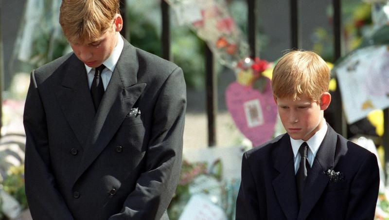 printul harry si william tristi la inmormantarea mamei lor
