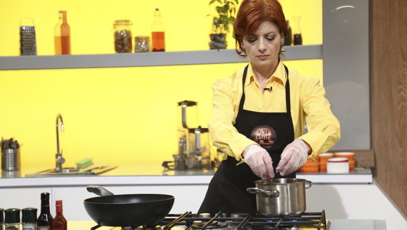 Antonela Costea gătind la Chefi la cuțite, în ediția 8 din sezonul 9