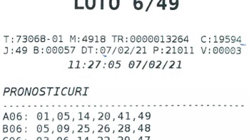 bilet norocos cu rezultatele loto 6/49 castigatoare