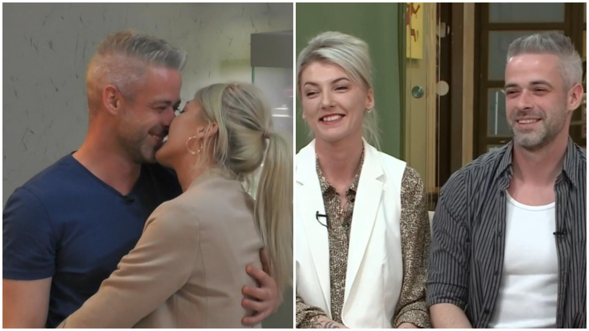 Anamaria și Bogdan, sărutându-se, în casa Mireasa