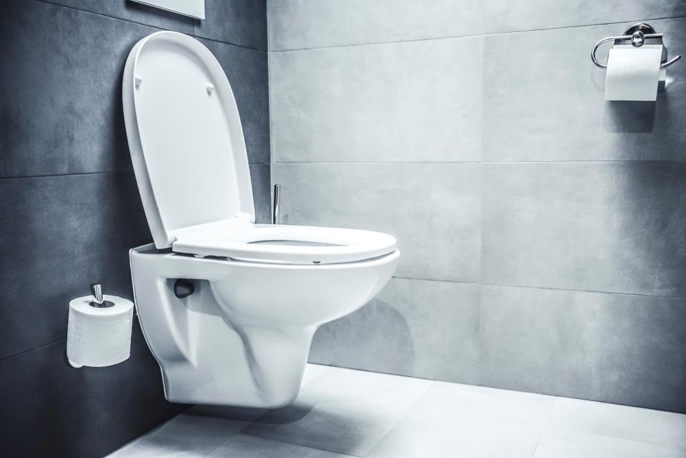 Toaletă albă așezată într-o încăpere