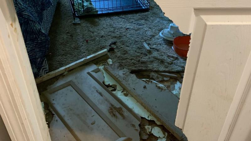 Ușa unei camere din casa deținută de Vickie Shelton