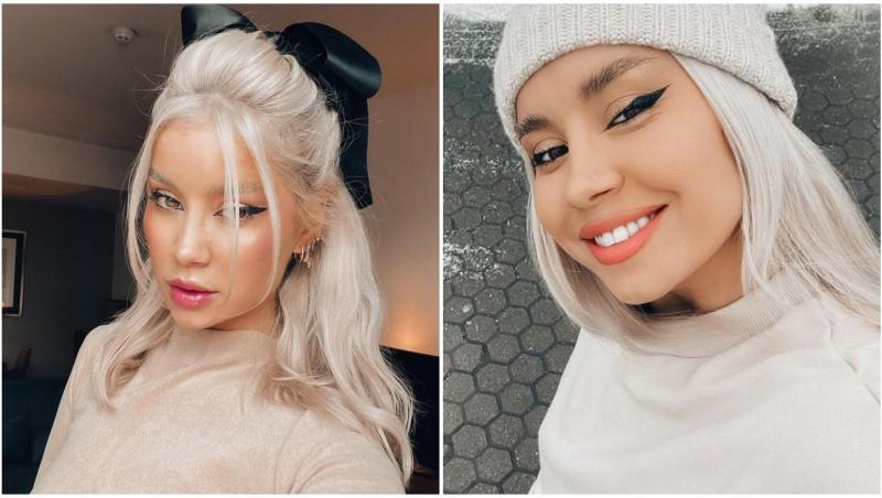 Colaj cu Alina Ceușan, cu părul blond