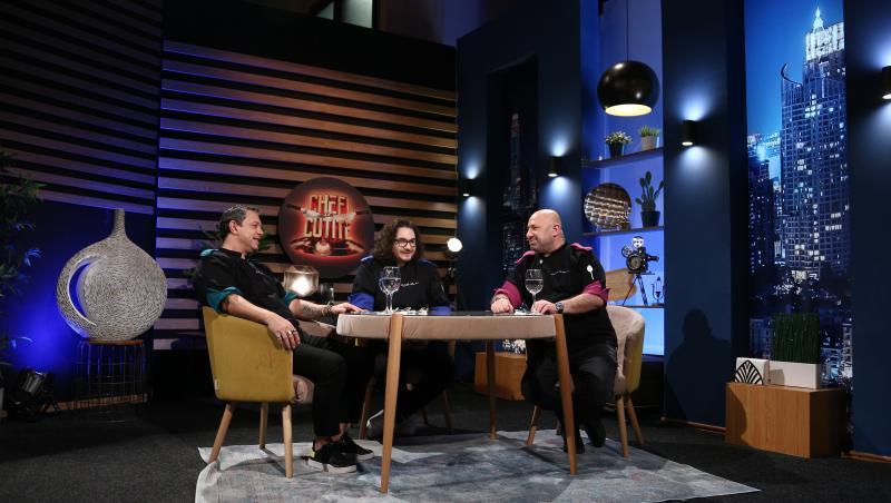 """Sorin Bontea, Florin Dumitrescu și Cătălin Scărlătescu degustand farfuriile din finala """"Chefi la cuțite"""""""