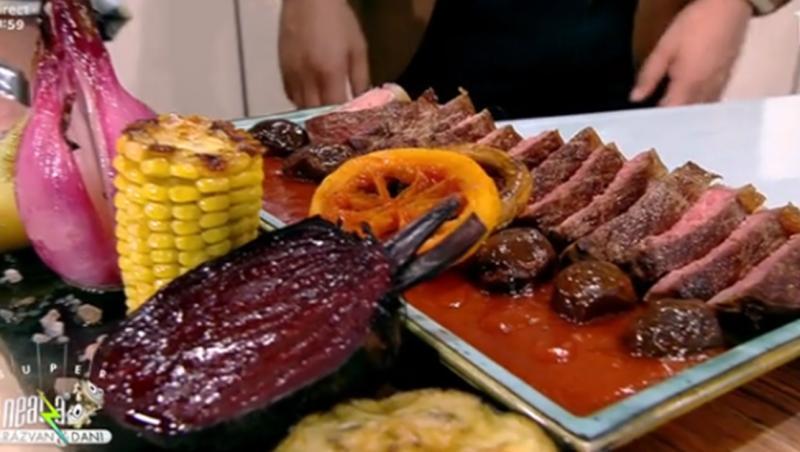 Friptură de vită în sos de roșii cu măsline și legume coapte