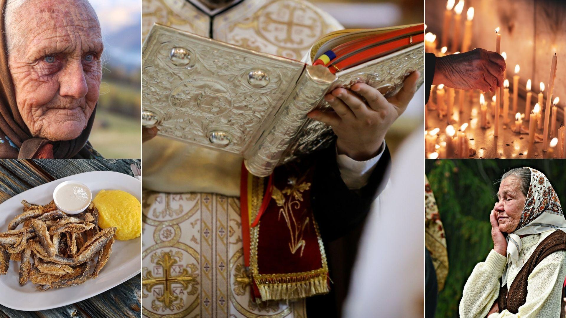 colaj de imagini cu un preot, doua femei, lumanari si peste cu mamaliga