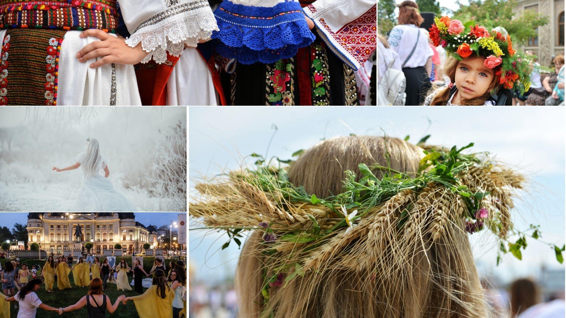 colaj de imagini cu coronite de sanziene, dansul ielelor si costume populare