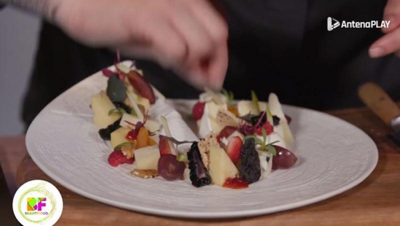 Plating cu brânzeturi și fructe realizat în emisiunea BeautiFood de Chef Roxana Blenche