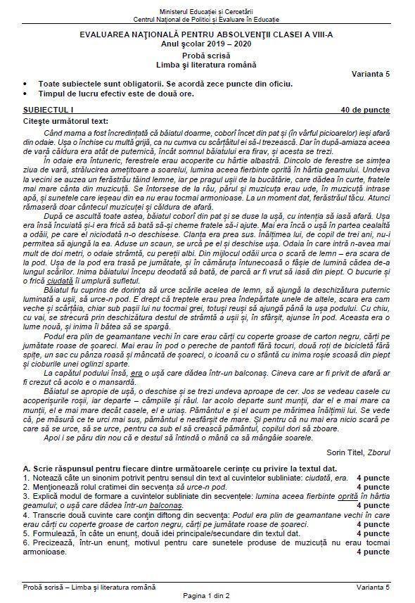 subiectele la evaluarea nationala 2020 la limba romana