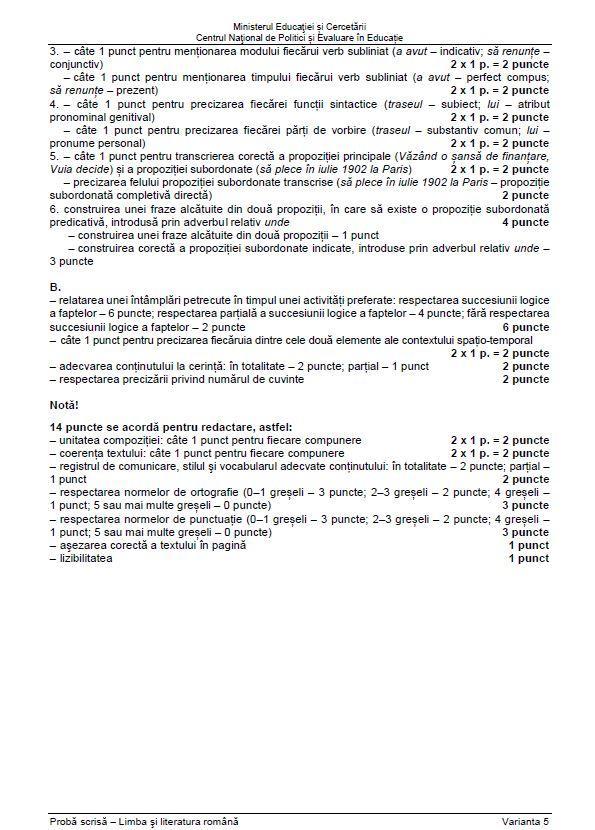 partea a doua a baremului de evaluare la limba si literatura romana de la evaluarea nationala 2021