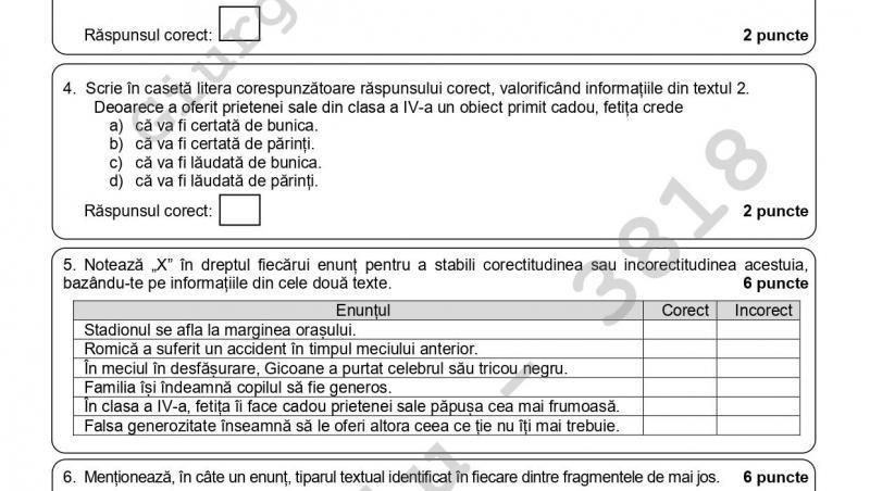 pagina 3 de la subiectele la limba romana de la evaluarea nationala 2021