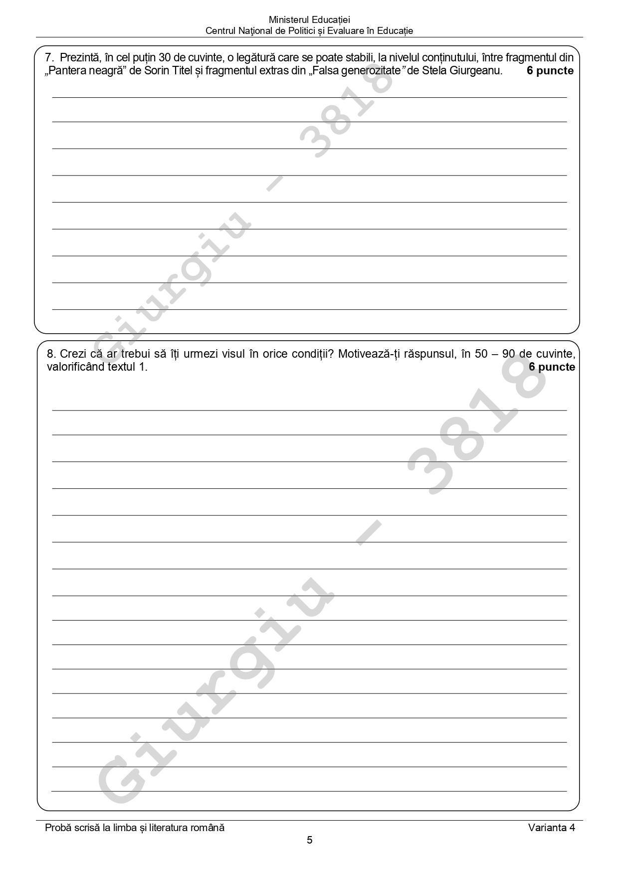 pagina 8 la subiectele la romana primite la evaluarea nationala 2021