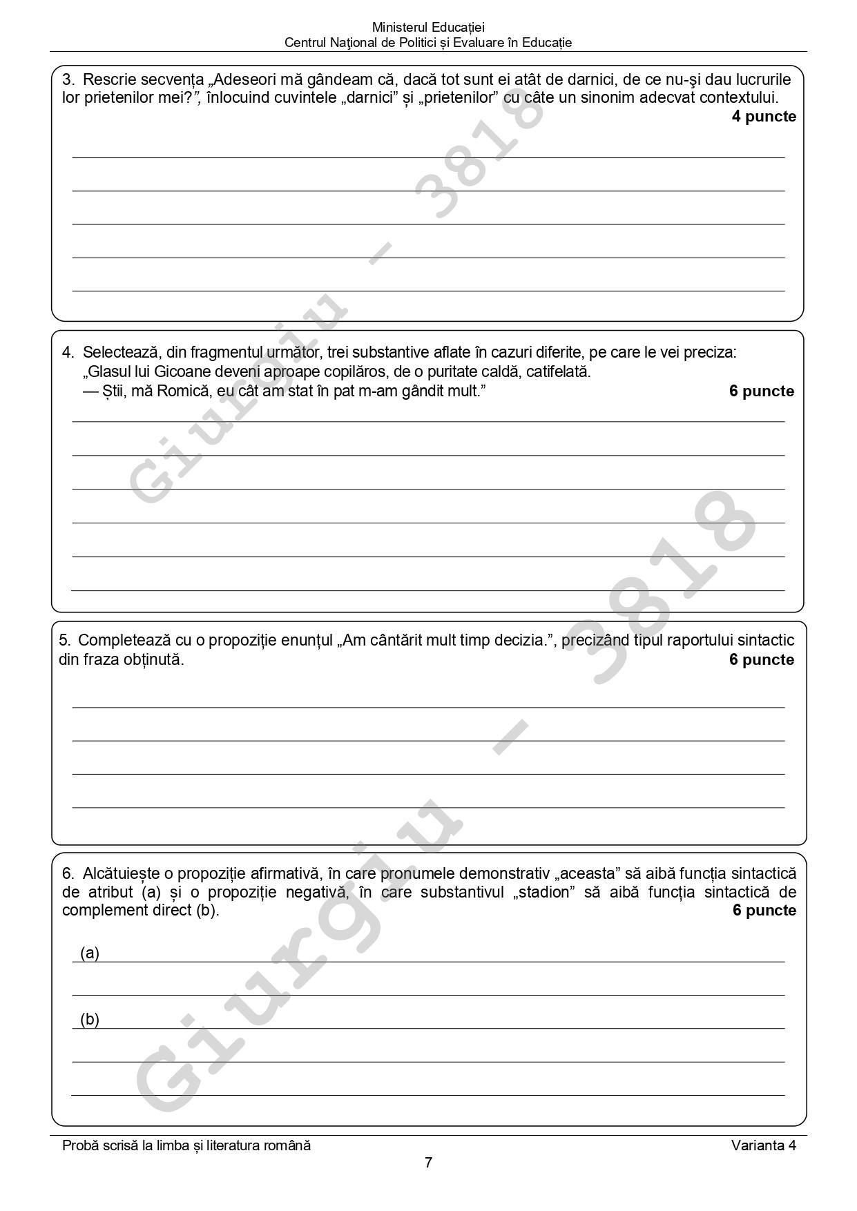 subiectele la evaluarea nationala 2020 la limba romana pagina 5