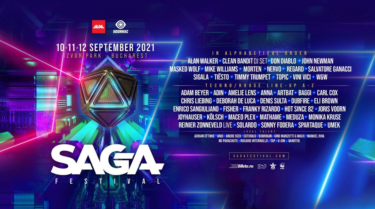 Vino să îi vezi pe artiștii tăi preferați Tiësto, Don Diablo, Alan Walker și Salvatore Ganacci la SAGA Festival