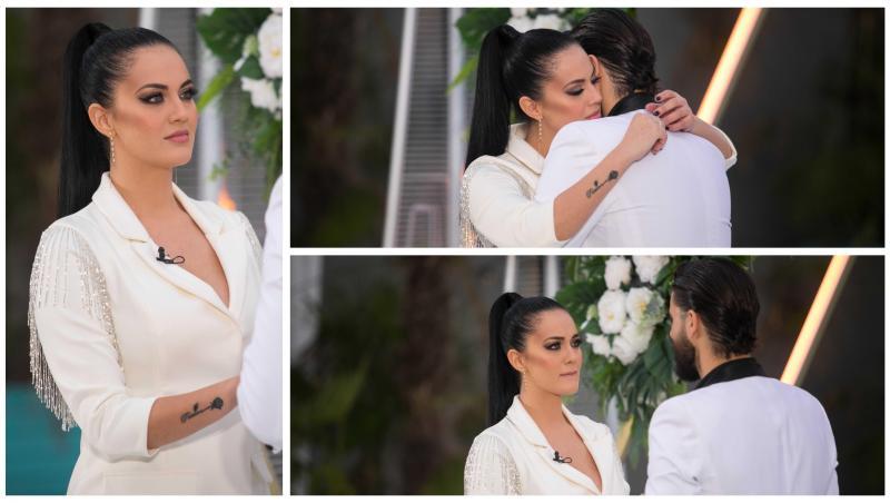 Simona Bălăceanu și Andi Constantin în haine albe, se îmbrățișează