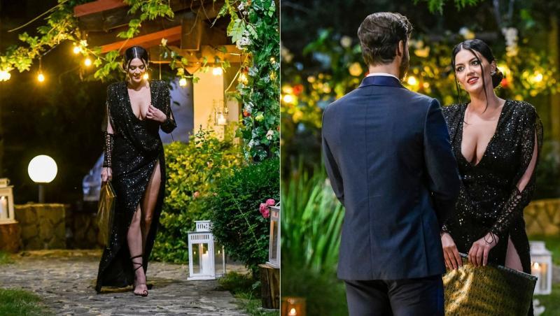 colaj de imagini cu simona balaceanu intr-o rochie neagra si decoltata