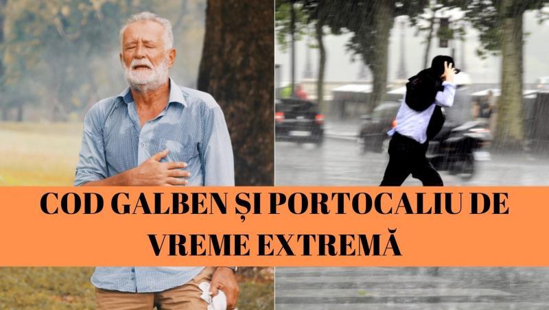 colaj de imagini cu un barbat transpirat si unul care alearga prin ploaie
