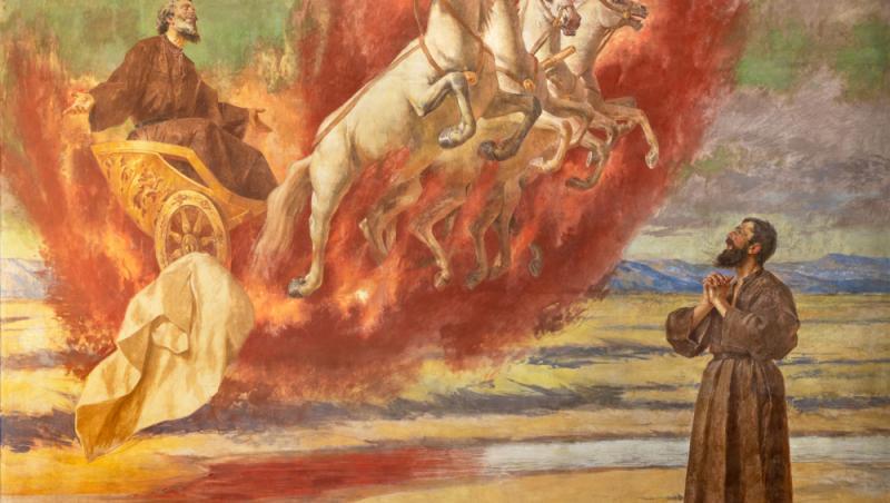 icoana cu sfantul ilie in carul de foc pe nori, langa un credincios