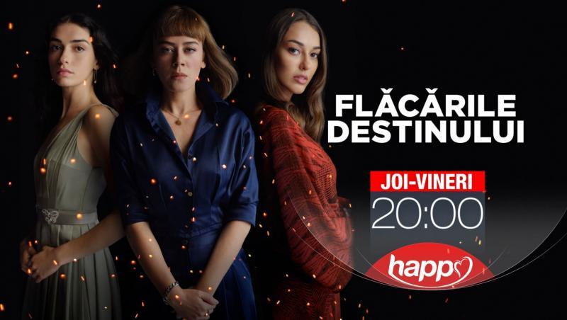 poster cu 3 actrite din Flacarile Destinului