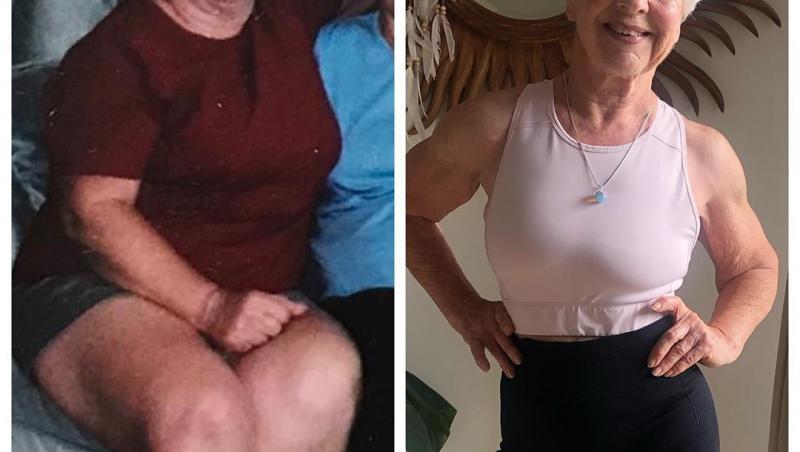 joan macdonald, inainte (stanga) si dupa (dreapta) ce s-a apucat de fitness
