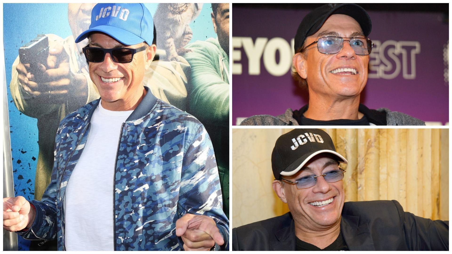 Colaj cu Jean Claude Van Damme, purtând șapcă cu inscripția JCVD