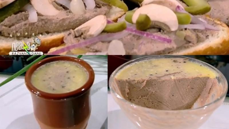 Colaj de poze cu prezentarea rețetei de mousse din ficat de pui cu ciuperci, preparată de chef Nicolai Tand