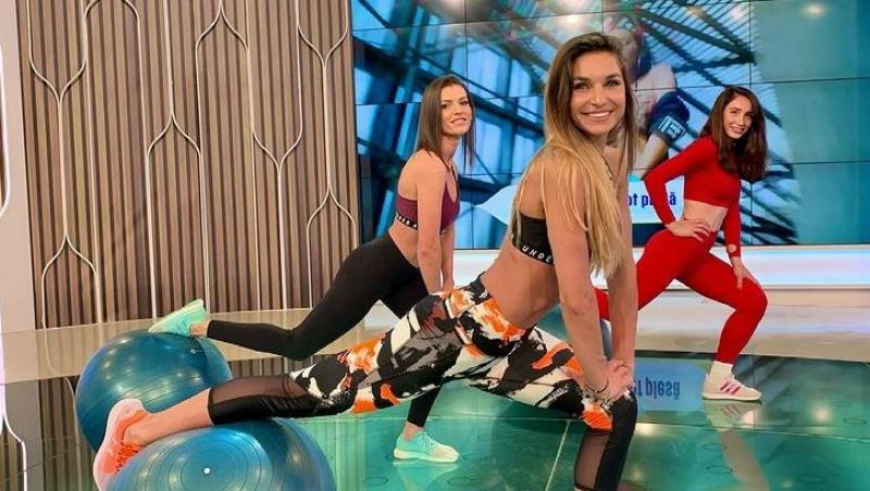 diana stejereanu in echipament de sport cu inca doua fete in platou la neatza