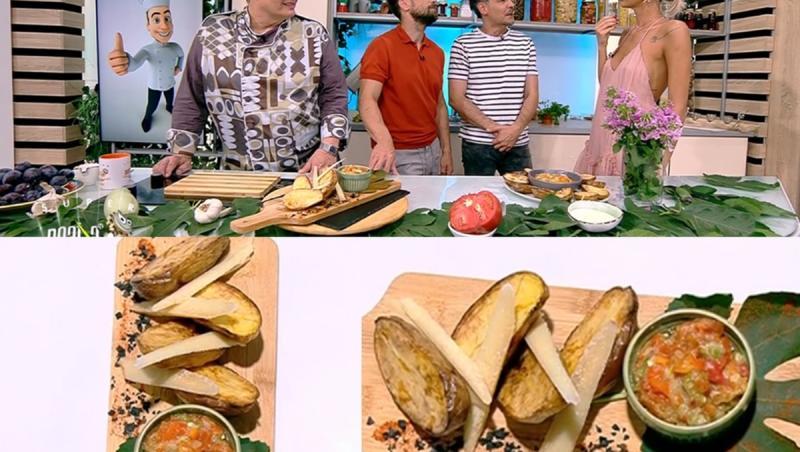 Colaj de poze cu matinalii și rețeta de cartofi copți cu sos de usturoi și legume