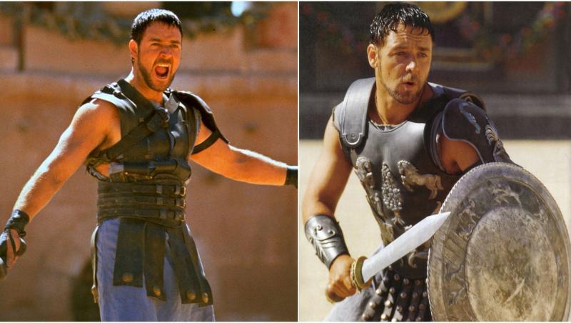 colaj russell crowe în gladiatorul. în prima poză e în arenă, îmbrăcat în armură, cu sabia în mână, și țipă. în a doua poză are sabia și scutul, în arenă, fundal cu nisip