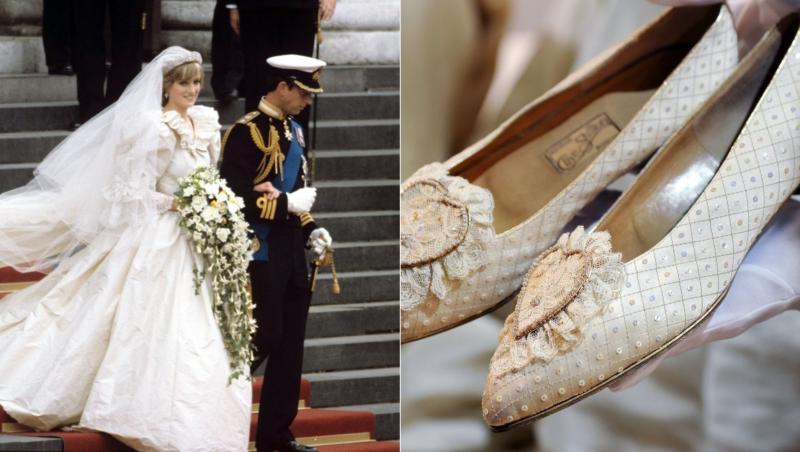 colaj de imagini cu rochia printesei diana si pantofii purtati la nunta cu printul charles