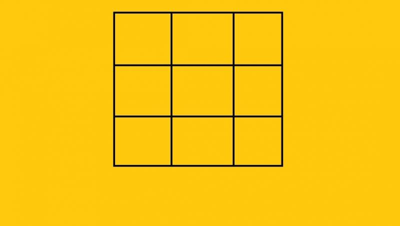 imagine cu un patrat impartit in 9 patrate mai mici, pe fundal galben