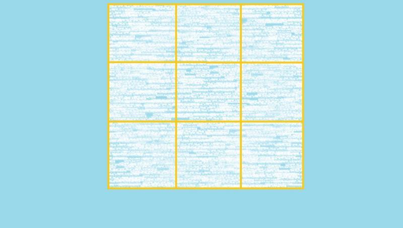 imagine cu un patrat impartit in 9 patrate mai mici, pe fundal albastru