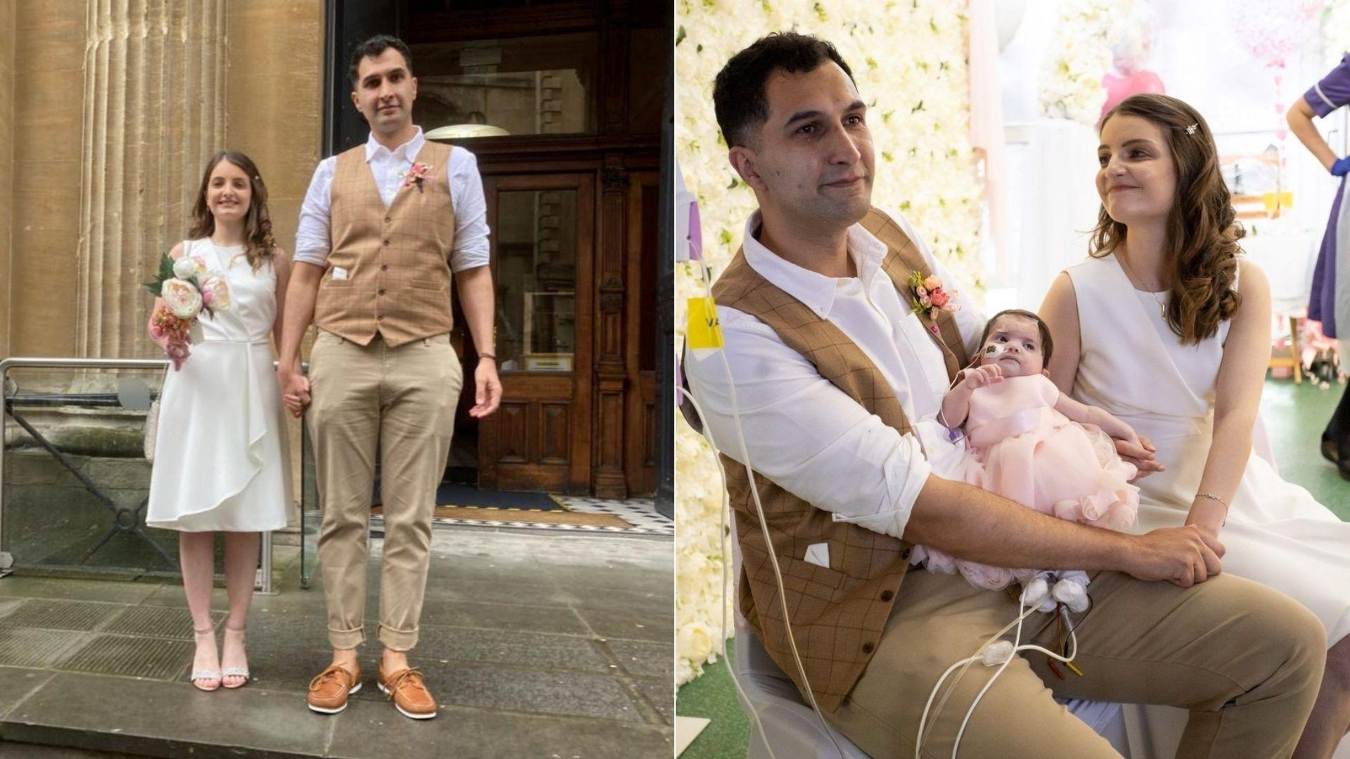 Karim și Louise Rezaie s-au căsătorit la spital, lângă patul fiicei lor. Bebelușul suferă de o afecțiune rară